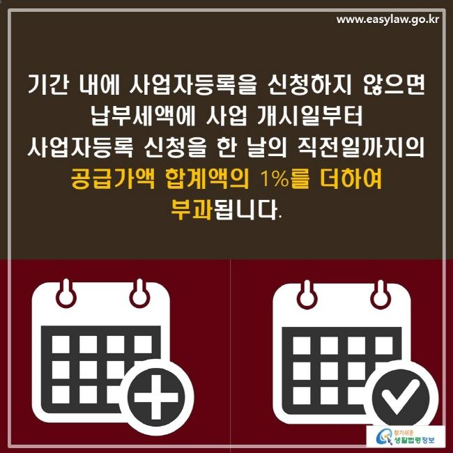 기간 내에 사업자등록을 신청하지 않으면 납부세액에 사업 개시일부터 사업자등록 신청을 한 날의 직전일까지의 공급가액 합계액의 1%를 더하여 부과됩니다.